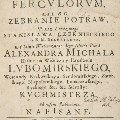 Okładka Compendium fercvlorvm albo zebranie potraw, S. Czerniecki, Polona, domena publiczna